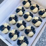 Navy, White and Gold themed cupcakes