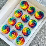 Cupcakes with Rainbow Buttercream Rosettes